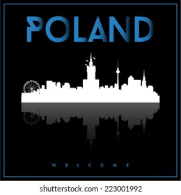 Poland, skyline silhouette vector design on parliament blue and black background.
