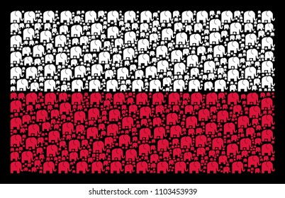 Poland State Flag mosaic organized of elephant elements. Flat vector elephant icons are combined into conceptual Poland flag illustration on a black background.