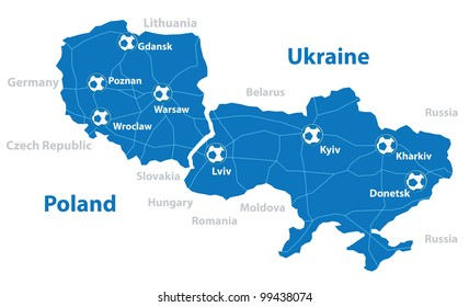 Poland and Ukraine map. Separate layers