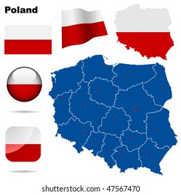 Poland  vector set. Detailed country shape with region borders, flags and icons isolated on white background.