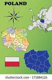 Poland vector set. Isolated.