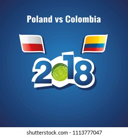 Poland vs Colombia flags soccer blue background