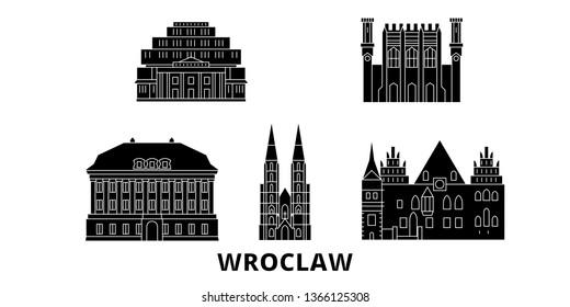 Poland, Wroclaw flat travel skyline set. Poland, Wroclaw black city vector illustration, symbol, travel sights, landmarks.