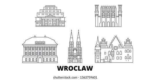 Poland, Wroclaw line travel skyline set. Poland, Wroclaw outline city vector illustration, symbol, travel sights, landmarks.