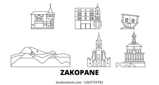 Poland, Zakopane line travel skyline set. Poland, Zakopane outline city vector illustration, symbol, travel sights, landmarks.