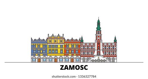 Poland, Zamosc flat landmarks vector illustration. Poland, Zamosc line city with famous travel sights, skyline, design.