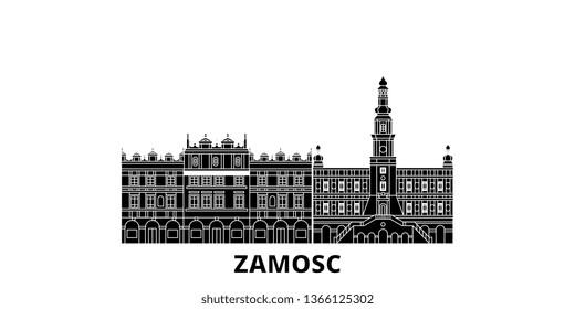 Poland, Zamosc flat travel skyline set. Poland, Zamosc black city vector illustration, symbol, travel sights, landmarks.