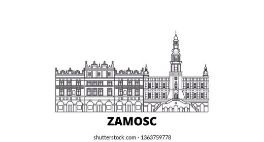 Poland, Zamosc line travel skyline set. Poland, Zamosc outline city vector illustration, symbol, travel sights, landmarks.