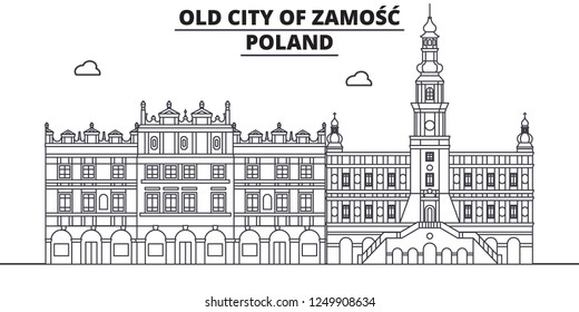 Poland - Zamosc travel famous landmark skyline, panorama, vector. Poland - Zamosc linear illustration