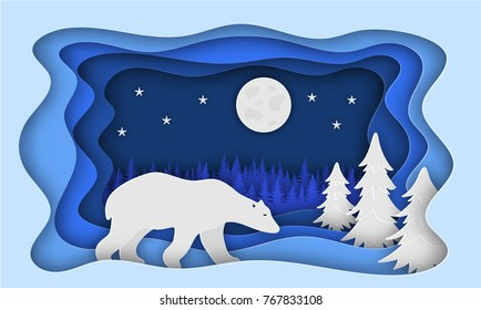 Polar bear, against the backdrop of a forest of Christmas trees. Paper style. Christmas illustration. Eps 10