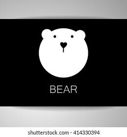 Polar bear animal sign. Bear mascot idea for logo, emblem, symbol, icon. Vector illustration.