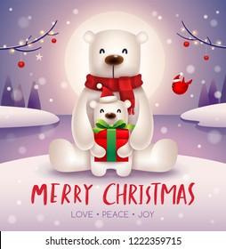 Polar Bear and baby cub under the moonlight in Christmas snow scene. Christmas cute animal cartoon character.