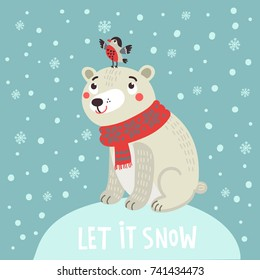 Polar bear and bird. Christmas card