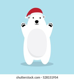 Polar bear cartoon character. A Cute Polar bear wearing Santa Claus hat  Vector illustration for Merry Christmas and Happy New Year invitation card.