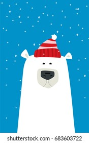 Polar bear cartoon vector illustration