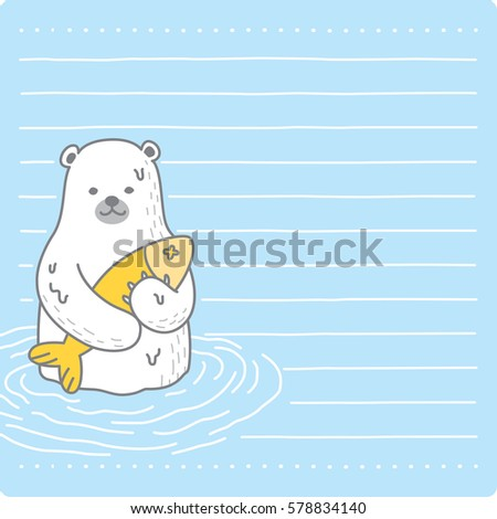 Polar Bear Catch Fish Message Paper Stock Vector Royalty Free