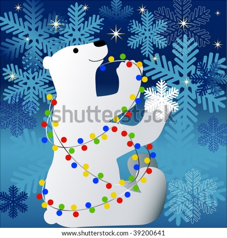 polar bear with christmas lights stars and snowflakes - Polar Bear Christmas Lights Stars Snowflakes Stock Vector (Royalty