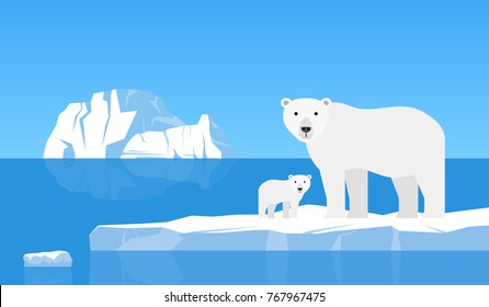 polar bear with cub on drift ice.arctic  landscape