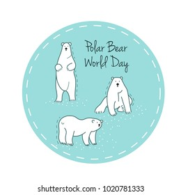 Polar Bear Day Vector flat Illustration. Sticker with white bear.
