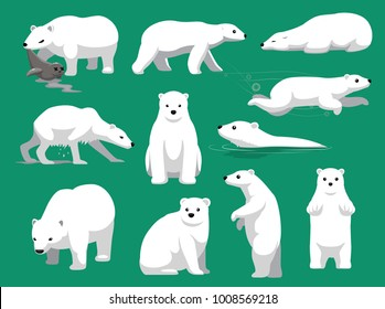 Polar Bear Eating Seal Cute Cartoon Vector Illustration