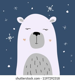 Polar bear is enjoying the snow, Christmas winter vector illustration for the design of cards, packaging, clothes