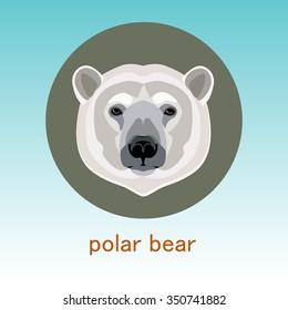 Polar bear. Face flat icon design. Animal icons series.