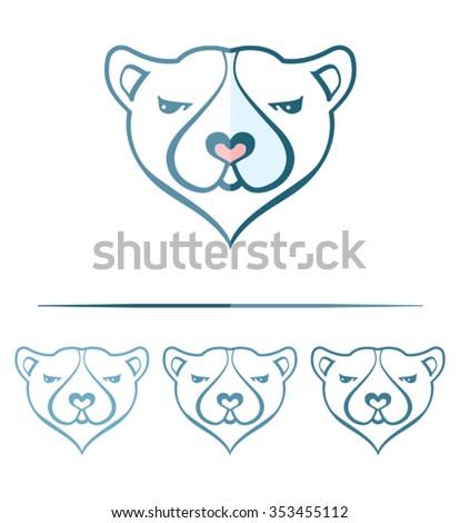 polar bear face template design stock vector royalty free