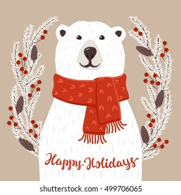 Polar Bear with Happy Holidays inscription. Winter greeting card of a cute hand drawn polar bear with calligraphy phrases. Christmas background with smiling cartoon character.