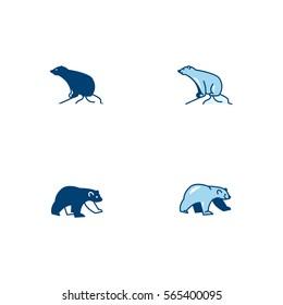 Polar Bear Head Icon Logo Vector Set Element