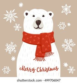 Polar Bear with Merry Christmas inscription. Winter greeting card of a cute hand drawn polar bear with calligraphy phrases. Christmas background with smiling cartoon character.