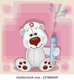 Polar Bear nurse with a syringe in his hand