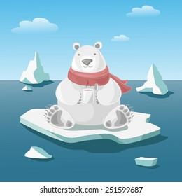 Polar bear on floe holds a mug with hot coffee. Vector copy