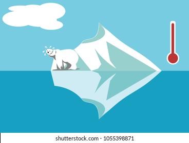 Polar bear on little iceberg vector illustration. Increasing earth temperature, global warming