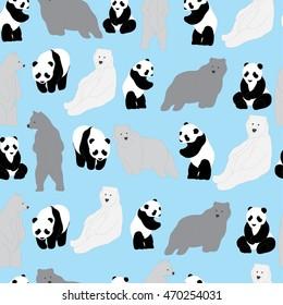 Polar bear and Panda Pattern. Seamless Pattern blue Background
