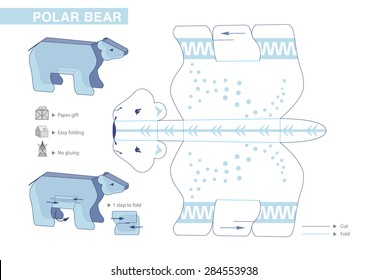Polar Bear Paper Model. Cut-outs for children. Small home craft project or printable paper gift and decoration. Fold without gluing. Vector template.