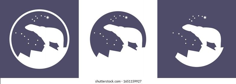 Polar Bear, Polaris, Arctic logo vector icon, white bear stay on the sea ice mountain under the northern sky, Ursa Major (Great Bear) and Ursa Minor (Little Bear) constellations, North Star, Pole Star