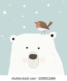 Polar bear and robin bird illustration card template. For winter or christmas. The best friends