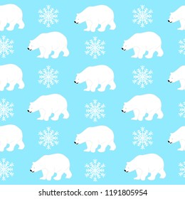 Polar bear seamless pattern with snowflakes, vector eps 10. Winter design for print, paper, fabric.