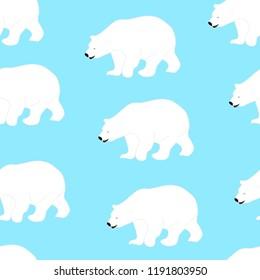 Polar bear seamless pattern, vector eps 10. Winter design for print, paper, fabric.