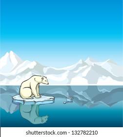 Polar bear sitting on a melting ice in a sea. Global warming.