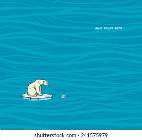 Polar bear sitting on a melting ice in a sea. Global warming problem.