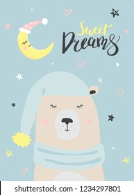 Polar bear is sleep, sweet dreams winter vector illustration for the design of cards, packaging, clothes