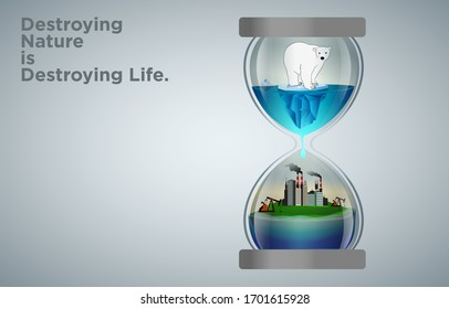 Polar bear standing on small melting iceberg on the top half of hourglass and water drops to the bottom half of hourglass where factory. Low polygonal polar bear sitting on ice on floating island.