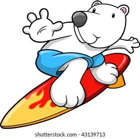 Polar Bear Surfing Vector Illustration