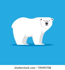 Polar bear vector illustration in flat style. North Pole, Arctic animal icon. Winter, zoo logo design element.