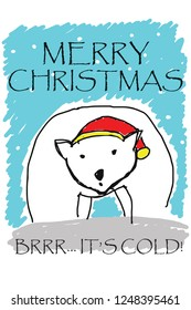 A polar bear wearing Santa Claus hat, with a Merry Christmas greeting. Hand drawn vector illustration.