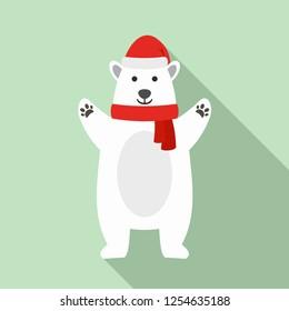 Polar bear xmas icon. Flat illustration of polar bear xmas vector icon for web design