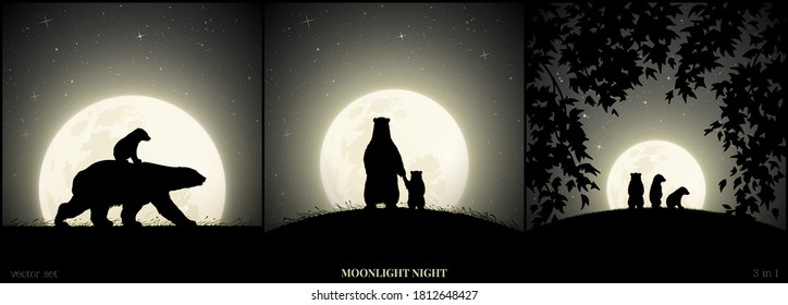 Polar bears family walking in grass on moonlight night. Animal baby silhouette on back of mother. Landscape framed by branches. Full moon in starry sky. Black and white vector illustration set