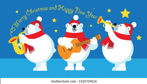Polar Bears Jazz trio playing and wishing Merry Christmas and Happy New Year