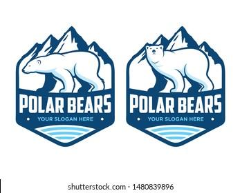 Polar Bears Logo, with two alternative polar bear heads